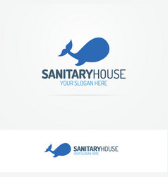 Sanitary house logo set with silhouette of whale vector