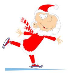 Santa claus a skater isolated vector
