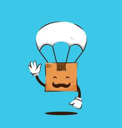 Say hi friendly smile parcel package box papa vector