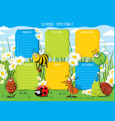 School timetable insects in a flower meadow vector