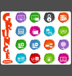 server network icons set in grunge style vector image