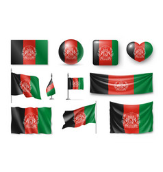 set afghanistan flags banners banners symbols vector image