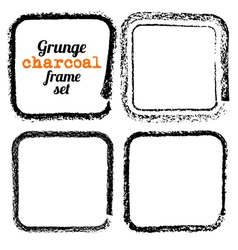 set four grunge square charcoal frames vector image