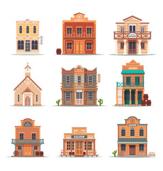 set isolated wild west western building vector image