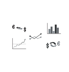 Set of business symbols with graph currency vector image