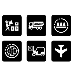 Set of six icons for delivery vector