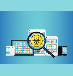 Smartphone and tablet detected virus vector