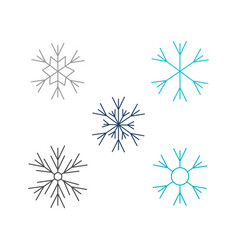 snowflakes set in flat style vector image