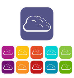 Storm cloud icons set flat vector