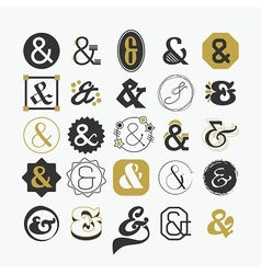 Stylized Ampersand sign and symbol design elements vector