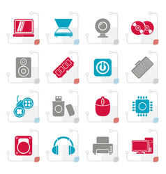 stylized computer parts and devices icons vector image