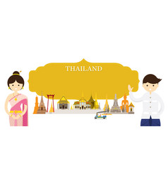 Thailand landmarks people in traditional clothing vector