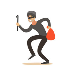 thief in a mask sneaking with a crowbar and a sack vector image