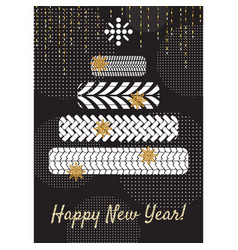 Tire new year tree greeting card concept vector