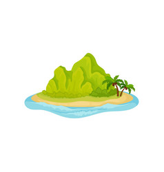 tropical island surrounded by water green vector image