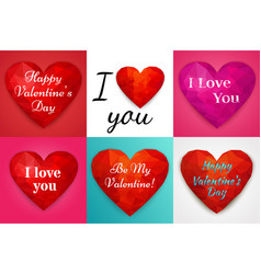 valentine backgrounds with polygonal hearts vector image