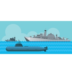 Warship and Submarine Side View in the Sea vector
