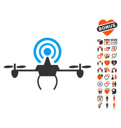 Wifi repeater drone icon with love bonus vector