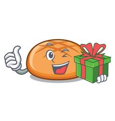 with gift hamburger bun mascot cartoon vector image