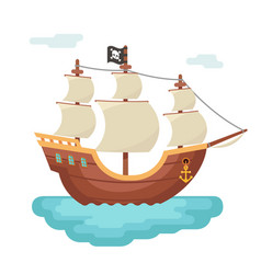 wooden boat pirate buccaneer sailing filibuster vector image