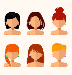 young pretty women pretty faces with different vector image