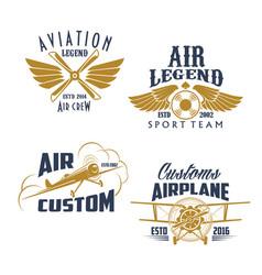 aviation retro airplane sport team icons vector image vector image