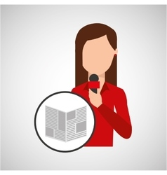 character woman reporter news microphone graphic vector image