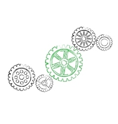 Green gear with black gears vector image vector image