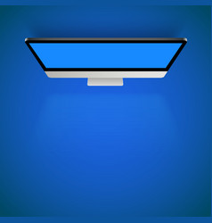monitor blue light top view background vector image