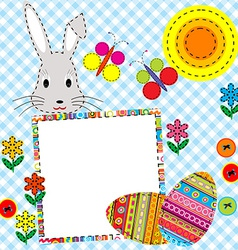 Patchwork Easter card with eggs and rabbit vector image vector image