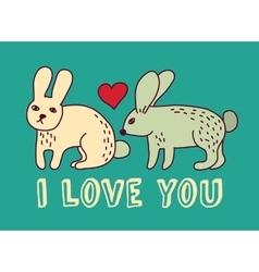 Rabbit love valentine color card vector image
