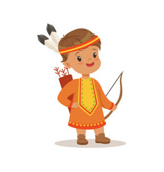 boy wearing native national costume of american vector image vector image