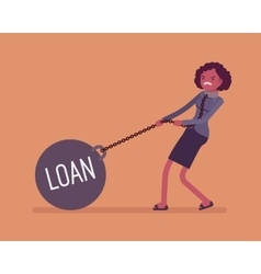 Businesswoman dragging a weight loan on chain vector
