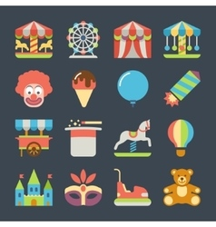 Carnival in amusement park flat icons vector image vector image