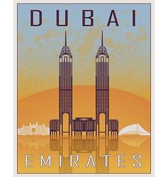 Dubai vintage poster vector image vector image
