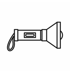 Flashlight icon in outline style vector image