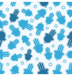 Hamsa hand and star of david seamless pattern vector