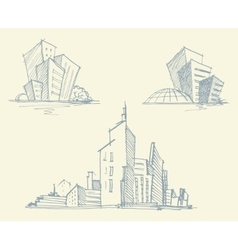 Sketches of city buildings vector image
