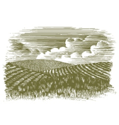 Woodcut Farm Fields vector image vector image
