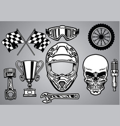 set of motocross racing with skull vector image