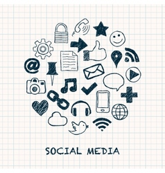 social media icons in circle vector image