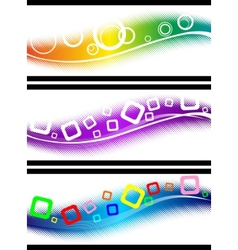 three halftone design elements vector image vector image
