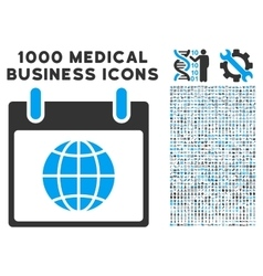 Globe Calendar Day Icon With 1000 Medical Business vector image