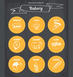 hand drawn bakery icon set blackboard with chalk vector image