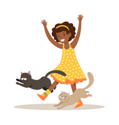 happy little girl playing with two kittens vector image