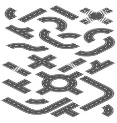 isometric road and highway elements for vector image vector image