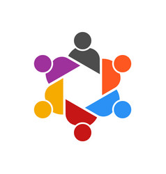 people table meeting group logo vector image vector image