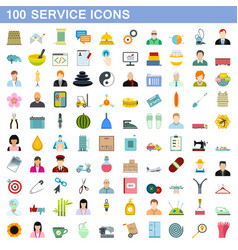 100 service icons set flat style vector image