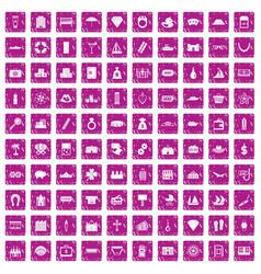 100 wealth icons set grunge pink vector