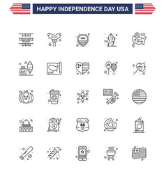 25 line signs for usa independence day adobe map vector